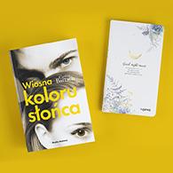 """Okładka książki """"Wiosna koloru słońca"""" z notatnikiem"""